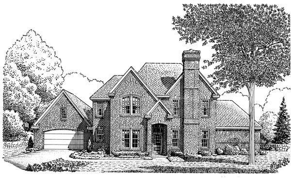 European House Plan 95586 Elevation