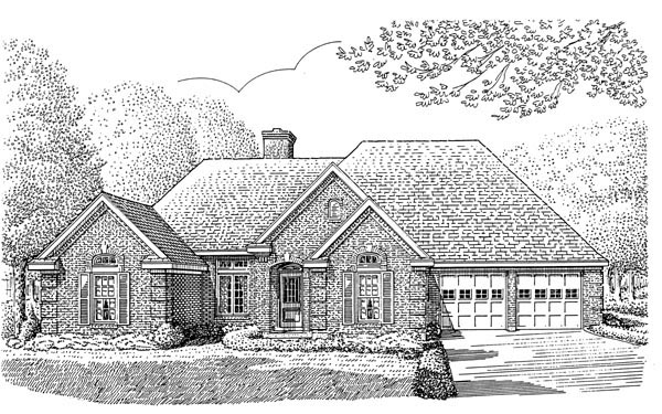 European House Plan 95587 Elevation