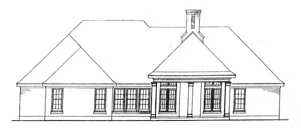 European House Plan 95587 Rear Elevation