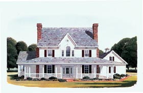 Country , Farmhouse House Plan 95588 with 4 Beds, 4 Baths, 2 Car Garage Elevation