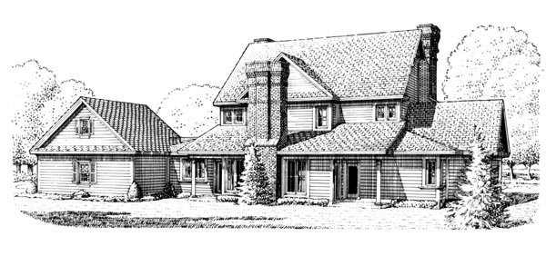 Country Farmhouse House Plan 95588 Rear Elevation