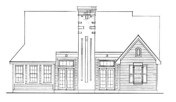 Country Rear Elevation of Plan 95591