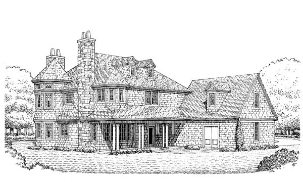 Country Craftsman House Plan 95592 Rear Elevation
