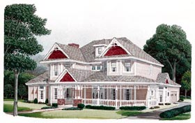 Country , Farmhouse , Victorian House Plan 95593 with 4 Beds, 4 Baths, 2 Car Garage Elevation