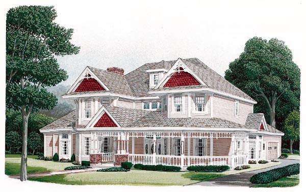 Country, Farmhouse, Victorian House Plan 95593 with 4 Beds, 4 Baths, 2 Car Garage Elevation