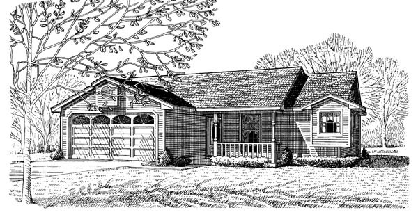 Country , One-Story , Elevation of Plan 95595