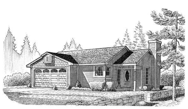 Country, Ranch House Plan 95596 with 3 Beds, 2 Baths, 2 Car Garage Elevation