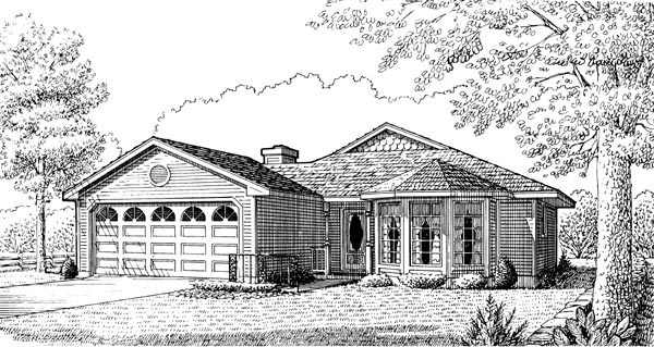 Country One-Story Victorian Elevation of Plan 95597