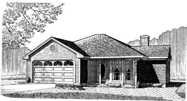 Country, One-Story House Plan 95599 with 3 Beds, 2 Baths, 2 Car Garage Elevation