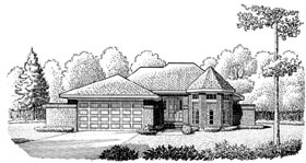 European House Plan 95603 with 2 Beds, 2 Baths, 2 Car Garage Elevation