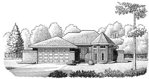 European One-Story Elevation of Plan 95603