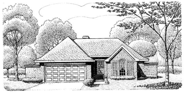 European, One-Story House Plan 95606 with 2 Beds, 2 Baths, 2 Car Garage Elevation