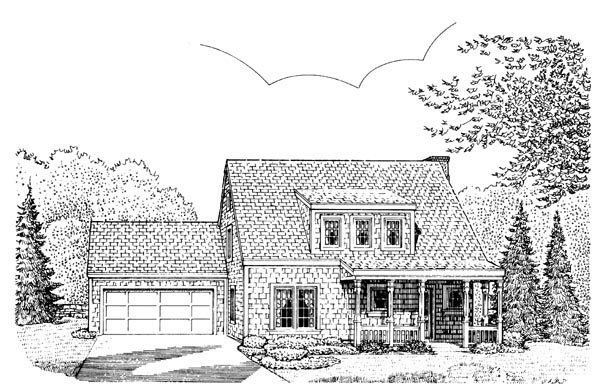 Bungalow, Country, Craftsman House Plan 95607 with 3 Beds, 2 Baths, 2 Car Garage Front Elevation