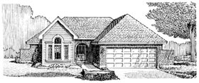 House Plan 95610 | Style Plan with 1507 Sq Ft, 3 Bedrooms, 2 Bathrooms, 2 Car Garage Elevation