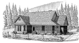 House Plan 95612 | Country Farmhouse Style Plan with 1528 Sq Ft, 3 Bedrooms, 2 Bathrooms, 2 Car Garage Elevation