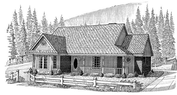 Country , Farmhouse , One-Story , Elevation of Plan 95612