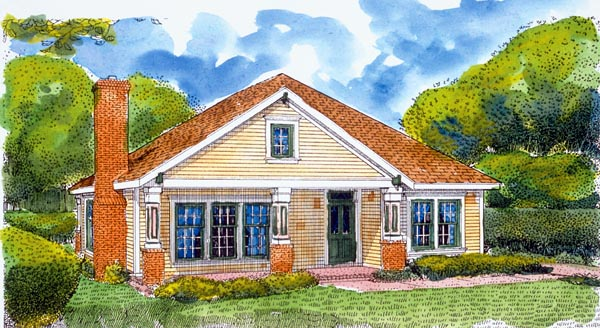 Bungalow Country Craftsman House Plan 95613 Elevation