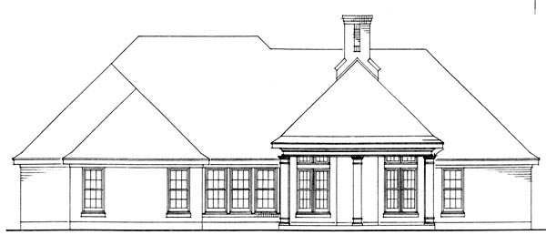 Bungalow Country Craftsman House Plan 95613 Rear Elevation