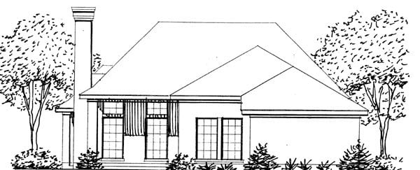 European House Plan 95615 Rear Elevation