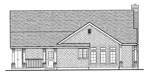 Craftsman, European, Narrow Lot House Plan 95626 with 3 Beds, 2 Baths, 2 Car Garage Picture 3