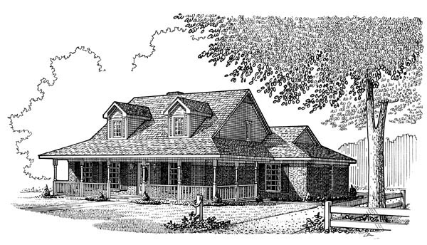 Country Farmhouse Southern Elevation of Plan 95627