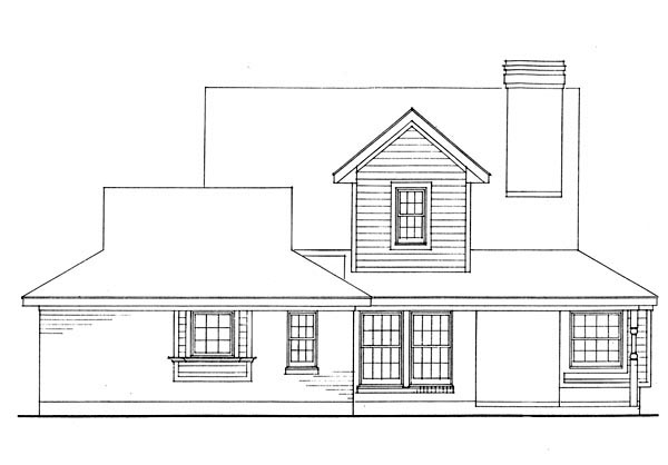 Country Farmhouse Southern Rear Elevation of Plan 95627