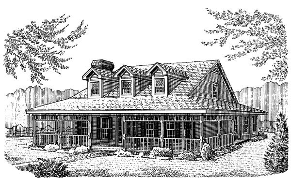 Country Farmhouse Southern House Plan 95628 Elevation