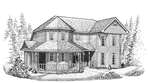 Country Farmhouse Victorian House Plan 95630 Elevation