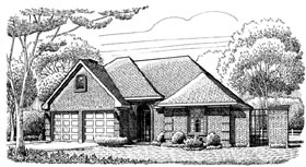 House Plan 95632 | European Style Plan with 1908 Sq Ft, 3 Bedrooms, 2 Bathrooms, 2 Car Garage Elevation