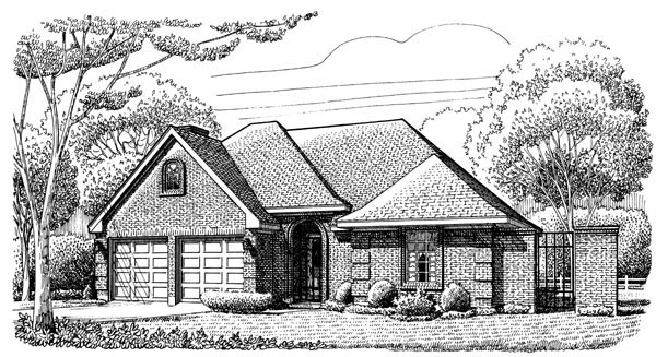 European, One-Story House Plan 95632 with 3 Beds, 2 Baths, 2 Car Garage Elevation