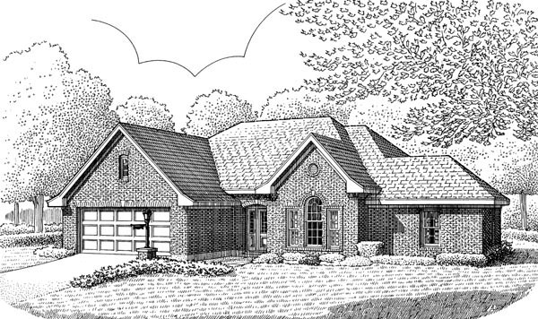 House Plan 95638 | European Style Plan with 1957 Sq Ft, 3 Bedrooms, 2 Bathrooms, 2 Car Garage Elevation
