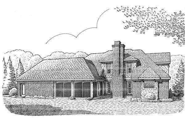 Craftsman , European House Plan 95640 with 3 Beds, 5 Baths, 2 Car Garage Rear Elevation