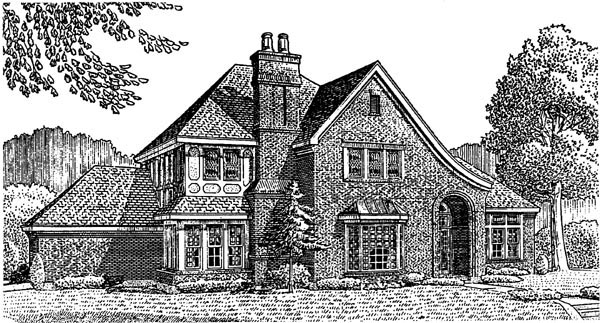 House Plan 95641 | European, Tudor Style House Plan with 2982 Sq Ft, 3 Bed, 3 Bath, 2 Car Garage Elevation