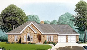 House Plan 95644 | European Style Plan with 1994 Sq Ft, 3 Bedrooms, 2 Bathrooms, 2 Car Garage Elevation