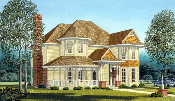 Country Farmhouse Victorian House Plan 95647