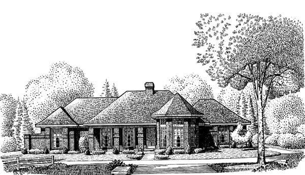 European House Plan 95651 Elevation