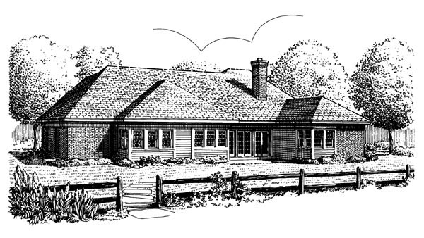 European House Plan 95653 Rear Elevation