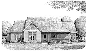 Country , Victorian House Plan 95659 with 3 Beds, 2 Baths, 2 Car Garage Elevation