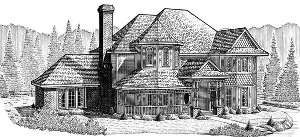Country , Farmhouse , Victorian , Elevation of Plan 95663