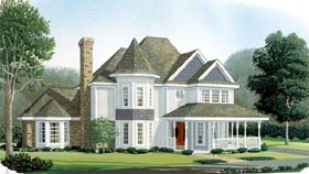 Country , Farmhouse , Victorian House Plan 95664 with 3 Beds, 3 Baths, 2 Car Garage Elevation
