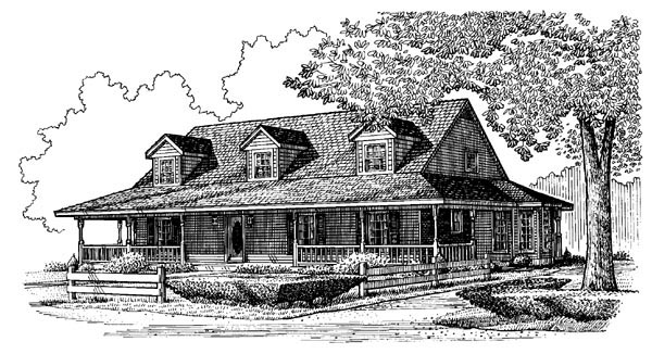 Country Farmhouse Southern House Plan 95666 Elevation