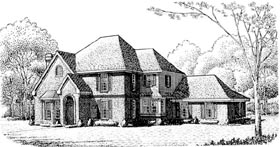 House Plan 95673 | European Style Plan with 2858 Sq Ft, 4 Bedrooms, 4 Bathrooms, 2 Car Garage Elevation