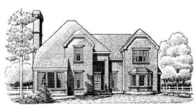 European House Plan 95676 with 4 Beds, 4 Baths, 2 Car Garage Elevation
