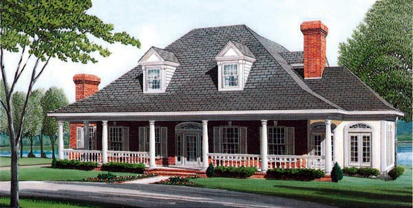 Country Farmhouse Southern House Plan 95679 Elevation