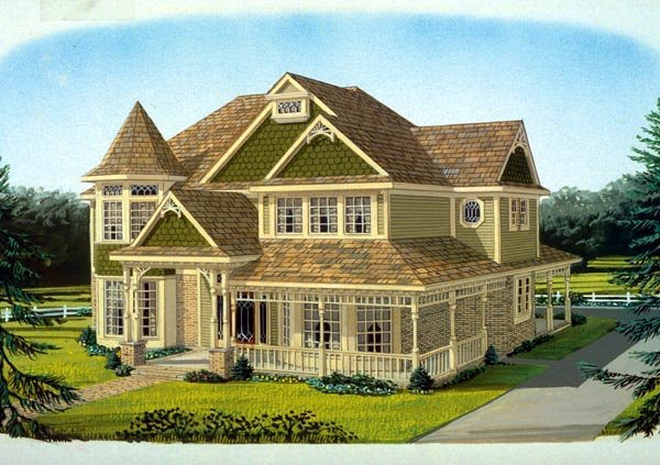 Country Farmhouse Victorian House Plan 95686 Elevation