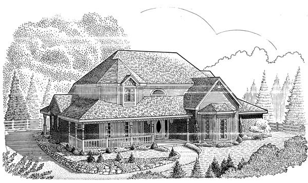 Country , Farmhouse , Victorian House Plan 95687 with 4 Beds, 3 Baths, 2 Car Garage Elevation