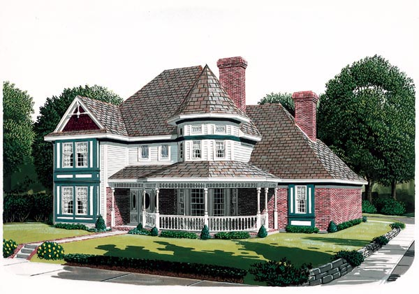 Country Farmhouse Victorian House Plan 95688 Elevation