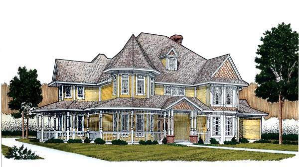 Country Farmhouse Victorian Elevation of Plan 95692