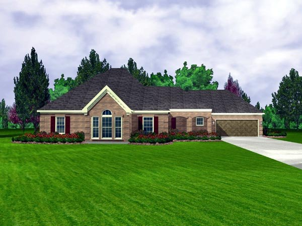 European House Plan 95699 with 3 Beds, 2 Baths, 2 Car Garage Elevation