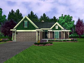 House Plan 95706 with 3 Beds, 2 Baths, 2 Car Garage Elevation